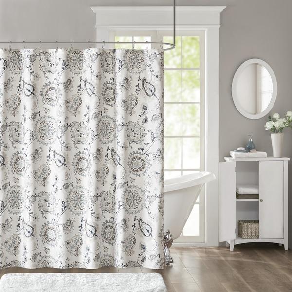 Madison Park Sharon Blue Cotton Sateen Printed Shower Curtain