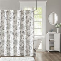 Madison Park Sharon Blue Cotton Sateen Printed Shower Curtain