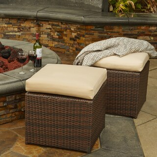 Handy Living Aldrich Indoor/Outdoor Dark Brown Woven Resin Rattan Set of 2 Ottomans with Tan Cushions