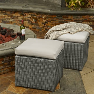 Handy Living Aldrich Indoor/Outdoor Grey Woven Resin Rattan Set of 2 Ottomans with Light Grey Cushions