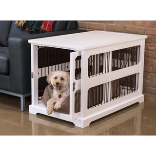Merry Products Slide Aside Off White Veneer Wood And Metal Crate And Kennel  End Table