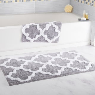 Windsor Home 100 Percent Cotton 2 Piece Trellis Bath Rug Set