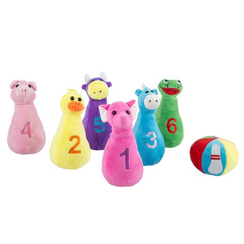Hey! Play! Kids Bowling Set with Six Numbered Plush Animal Pins and Plush Ball with Carrying Case