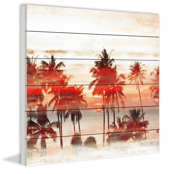 Handmade Glowing Red Palms Print on White Wood