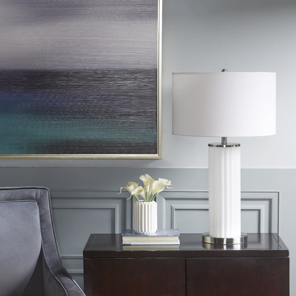 Madison Park Signature Olympia White Table Lamp