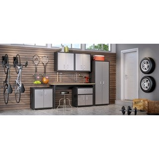 Link to Manhattan Comfort Fortress Grey Steel 6-piece Textured Garage Storage Set With Cabinets, Wall Units, and Table Similar Items in Storage & Organization