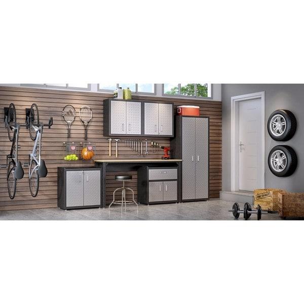 Manhattan Comfort Fortress Grey Steel 6 Piece Textured Garage Storage Set  With Cabinets, Wall
