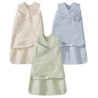 HALO 100% Cotton SleepSack Swaddle - 3-Pack - Cream/Blue/Sage - Newborn