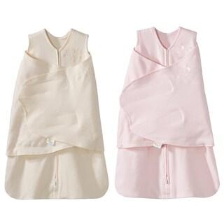 HALO SleepSack 100% Cotton Swaddle - Cream/Pink - Newborn - 2-Pack
