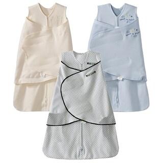 HALO 100% Cotton SleepSack Swaddle - 3-Pack - Cream/Blue/Navy Blue Pin Dot - Newborn