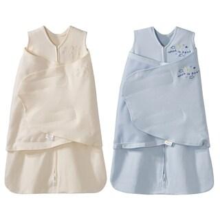 HALO SleepSack 100% Cotton Swaddle - Cream/Blue - Newborn (2-Pack)