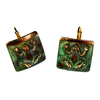 Handmade Verdigris Patina Solid Brass Tree Frog on Domed Square Earrings by Elaine Coyne