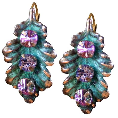 Handmade Patina Leaf Earrings with Crystals (USA) - multi