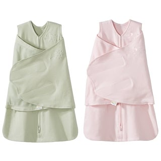 HALO SleepSack 100% Cotton Swaddle - Sage/Pink - Newborn (2-Pack)