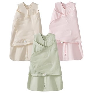 HALO 100% Cotton SleepSack Swaddle - 3-Pack - Cream/Pink/Sage - Newborn