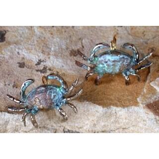 Handmade Verdigris Patina Solid Brass Crab Earrings by Elaine Coyne