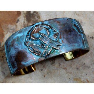 Handmade Verdigris Patina Brass Zen Dragonfly on Calla Lily Tapered Cuff Bracelet by Elaine Coyne