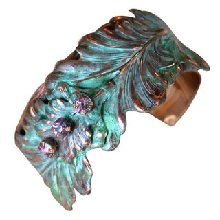 Link to Handmade Patina Multi Leaf Cuff with Austrian Crystals (USA) Similar Items in Bracelets