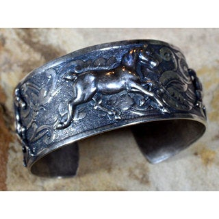 Handmade Mirror Antique Silver Brass Equestrian Classic Running Horse Cuff Bracelet by Elaine Coyne