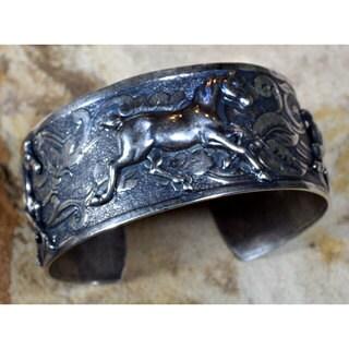 Handmade Mirror Antique Silver Brass Equestrian Classic Running Horse Cuff Bracelet by Elaine Coyne