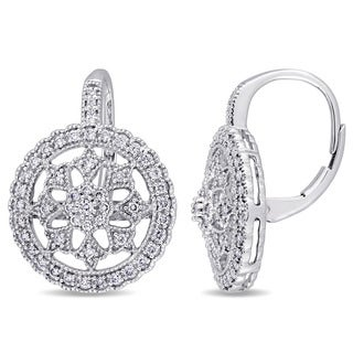 Miadora Signature Collection 14k White Gold 1/2ct TDW Diamond Floral Halo Leverback Earrings