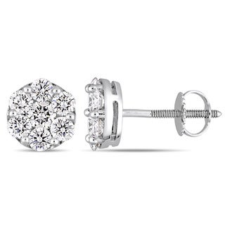 Miadora Signature Collection 14k White Gold 1-1/10ct TDW Diamond Floral Cluster Stud Earrings
