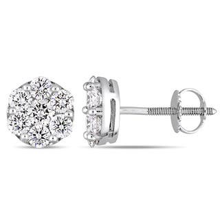 Miadora Signature Collection 14k White Gold 1-1/10ct TDW Diamond Floral Cluster Stud Earrings|https://ak1.ostkcdn.com/images/products/17333548/P23578789.jpg?impolicy=medium