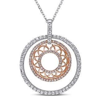 Miadora Signature Collection 2-Tone 14k White and Rose Gold White Sapphire 3/8ct TDW Diamond Filigree Circle Necklace