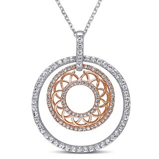 Miadora Signature Collection 2-Tone 14k White and Rose Gold White Sapphire 3/8ct TDW Diamond Filigree Circle Necklace