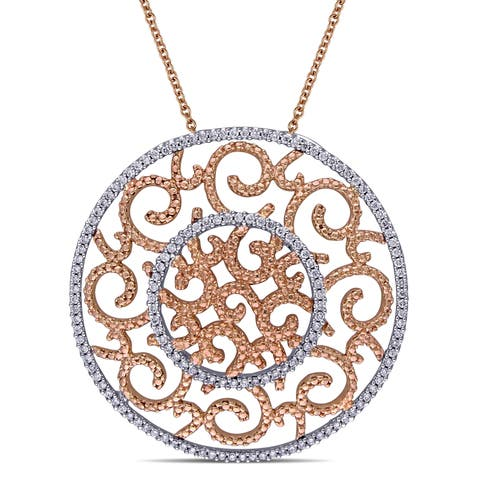 Miadora Signature Collection 2-Tone 14k White and Rose Gold 3/4ct TDW Diamond Medallion Filigree Halo Necklace