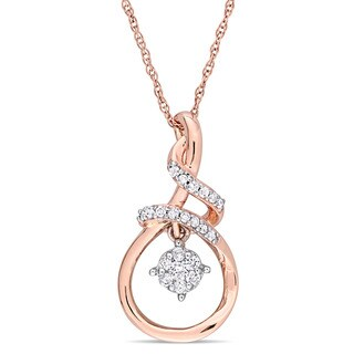 Miadora 2-Tone 10k White and Rose Gold 1/6ct TDW Diamond Twist Teardrop Dangle Necklace
