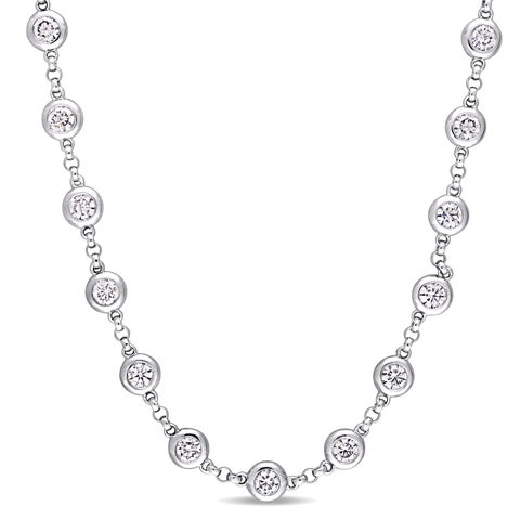 Miadora Signature Collection 18k White Gold 4-1/4ct TDW Diamond Beaded Station Necklace