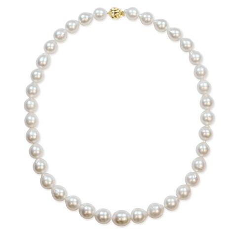 Miadora Signature Collection 14k Yellow Gold South Sea Pearl Graduated Strand Necklace (9-11 mm) - White