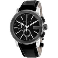 Gucci Men's YA101205 'G-Chrono' Chronograph Black Leather Watch