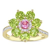Laura Ashley Peridot Pink Sapphire and 1/7ct TDW Diamond Flower Halo Ring in Yellow Plated Sterling