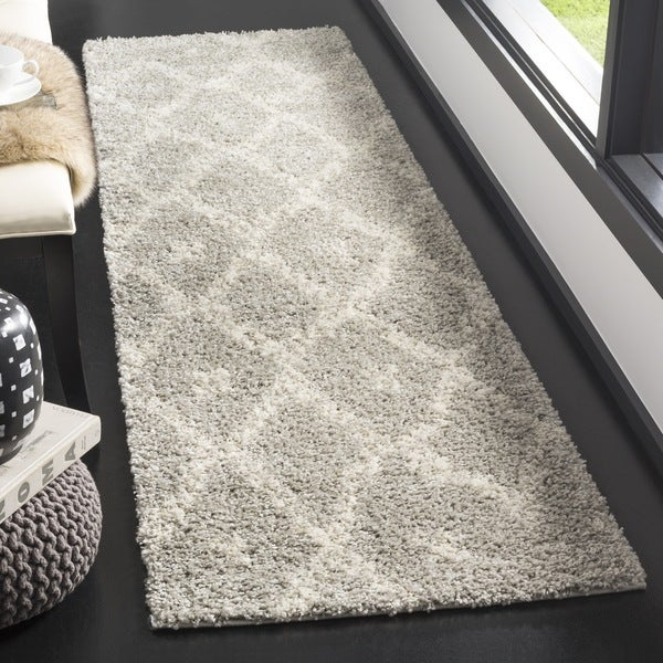 Safavieh Arizona Shag Grey/ Ivory Rug (2'3 x 8')