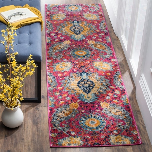 Safavieh Madison Fuchsia/ Gold Rug - 2'3 x 12'