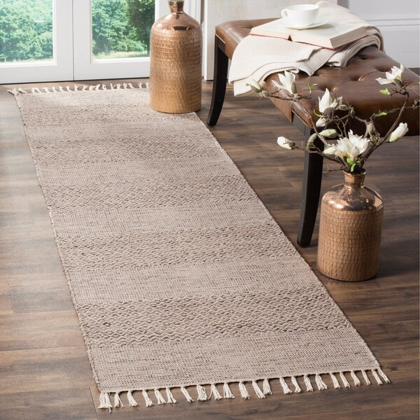 Safavieh Hand-Woven Montauk Ivory/ Steel Grey Cotton Rug - 2'3 x 12'