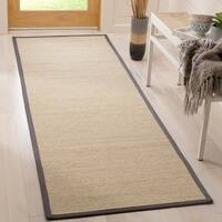 "Safavieh Natural Fiber Natural/ Dark Grey Sisal Rug - 2'6"" x 8'"