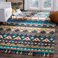 Safavieh Handmade Aspen Blue/ Red Wool Rug (5' x 8')
