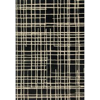 Hand-tufted Echo Black/ Ivory Rug (5' x 7'6)