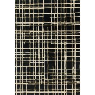 Hand-tufted Echo Black/ Ivory Rug (3'6 x 5'6)