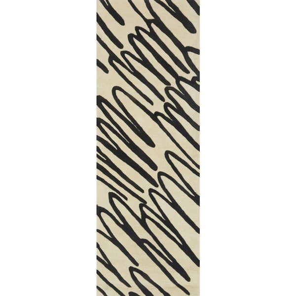 Hand-tufted Echo Ivory/ Black Runner Rug - 2'6 x 7'6