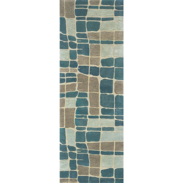 Hand-tufted Echo Teal/ Grey Abstract Runner Rug - 2'6 x 7'6