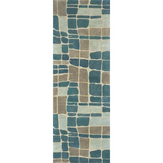 Hand-tufted Echo Teal/ Grey Abstract Runner Rug (2'6 x 7'6) https://ak1.ostkcdn.com/images/products/17333981/P23579097.jpg?impolicy=medium