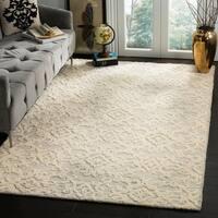 Safavieh Handmade Blossom Grey/ Ivory Wool Rug - 5' x 8'