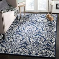 Safavieh Handmade Blossom Navy/ Ivory Wool Rug (5' x 8')