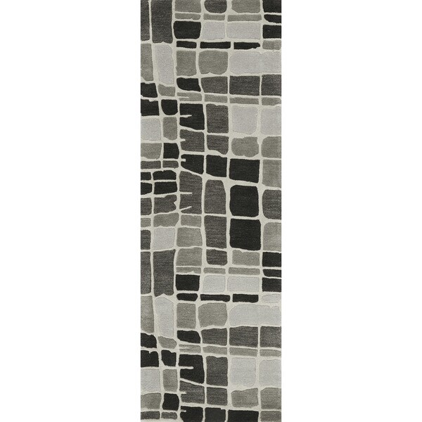 Hand-tufted Echo Grey/ Black Abstract Runner Rug - 2'6 x 7'6