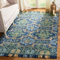 Safavieh Handmade Blossom Navy/ Green Wool Rug - 5' x 8'