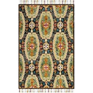 Safavieh Handmade Blossom Charcoal/ Gold Wool Rug (5' x 8')